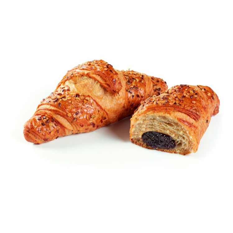 Blueberry filled seeded croissant