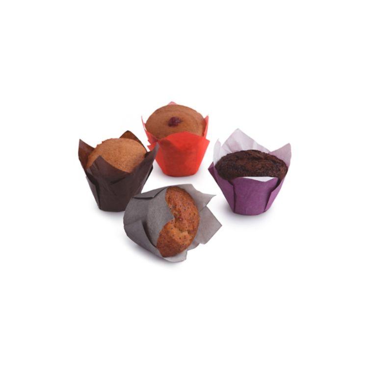 Assortimento di muffin senza glutine (nature, cacao, frutti di bosco, limone)