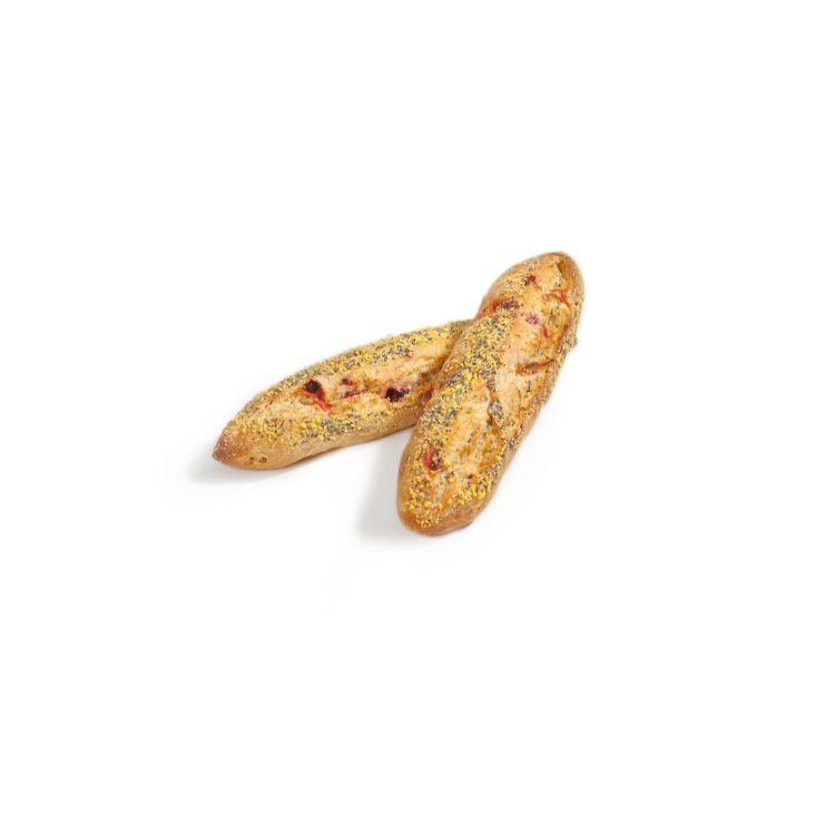 Half-baguette with beetroot and seeds