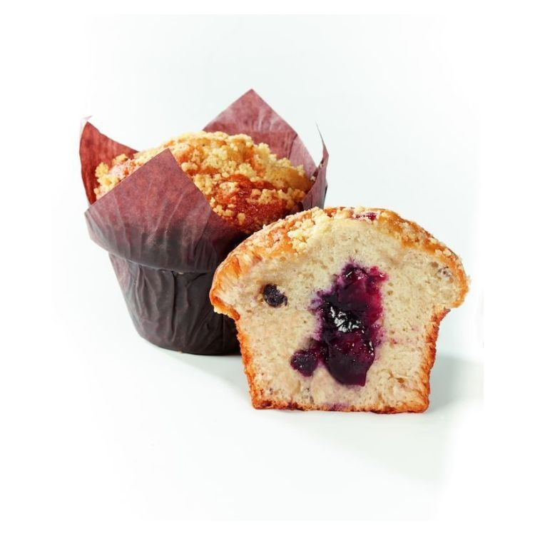 muffin myrtilles fourré myrtille décor crumble