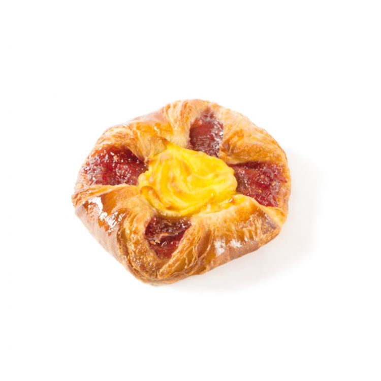 Raspberry & custard basket