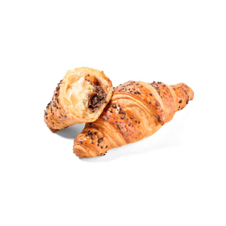 Mini butter croissant chocolate hazelnut filled